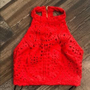 Brand new never worn red crocheted crop top